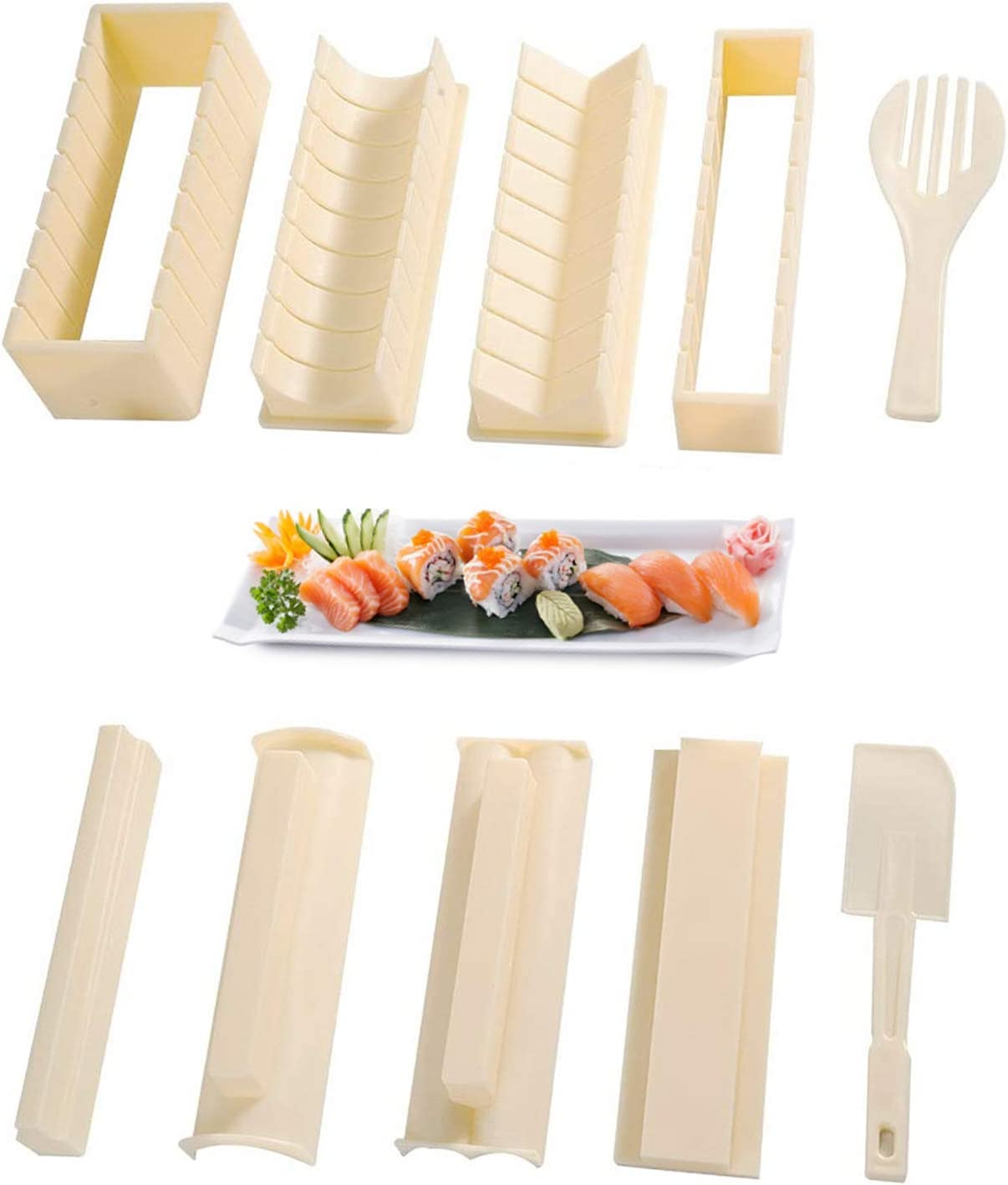 Sushi Making Kit for Beginners Complete Sushi Set 10 Pieces Plastic Sushi Maker Tool with 8 Sushi Roll Mold Shapes DIY Home Sushi Tool Sushi Rolls