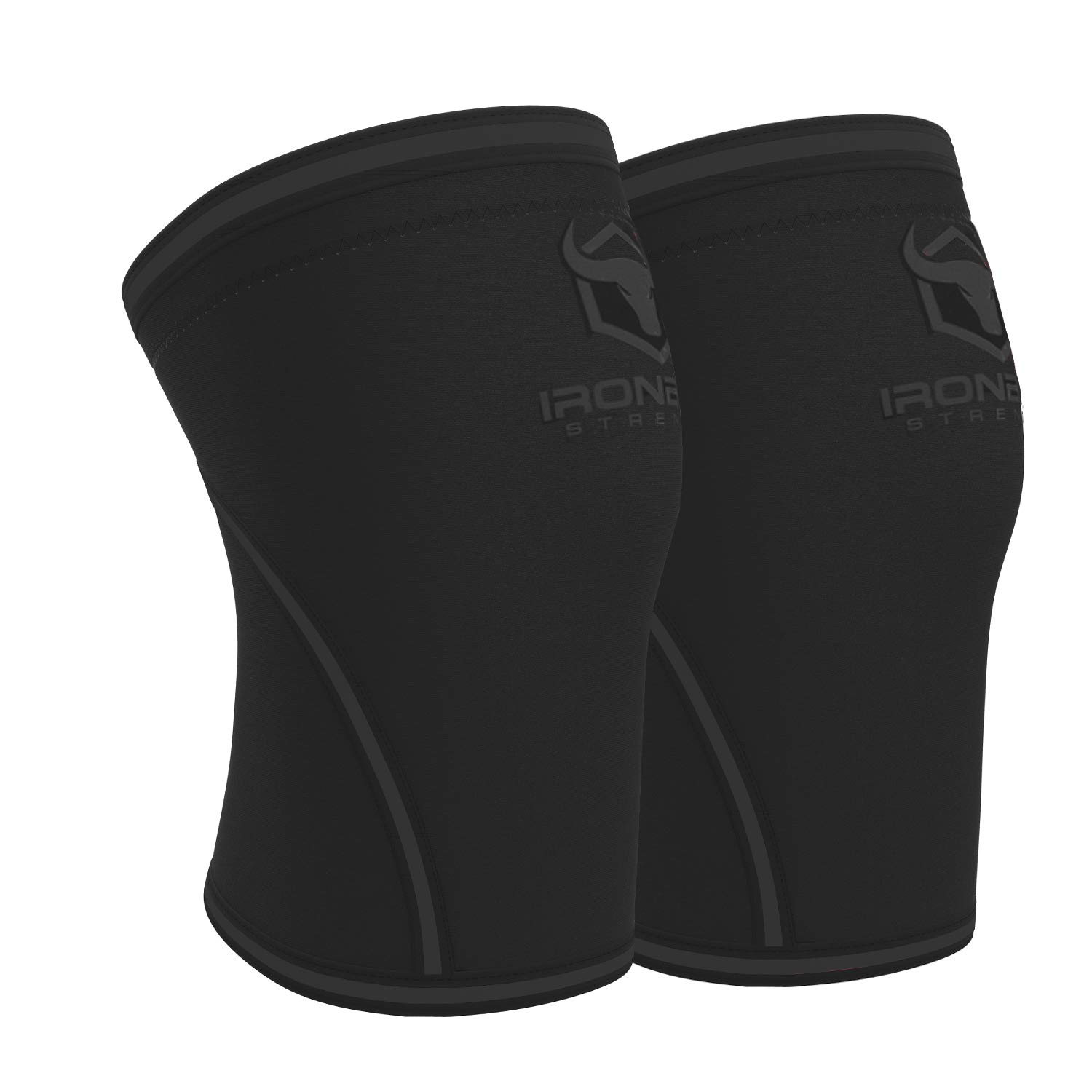 Knee Sleeves 7mm (1 Pair) - High Performance Knee Sleeve Support for Weight Lifting, Cross Training & Powerlifting - Best Knee Wraps & Straps Compression - for Men and Women (Black/Charcoal, Medium) by Iron Bull Strength