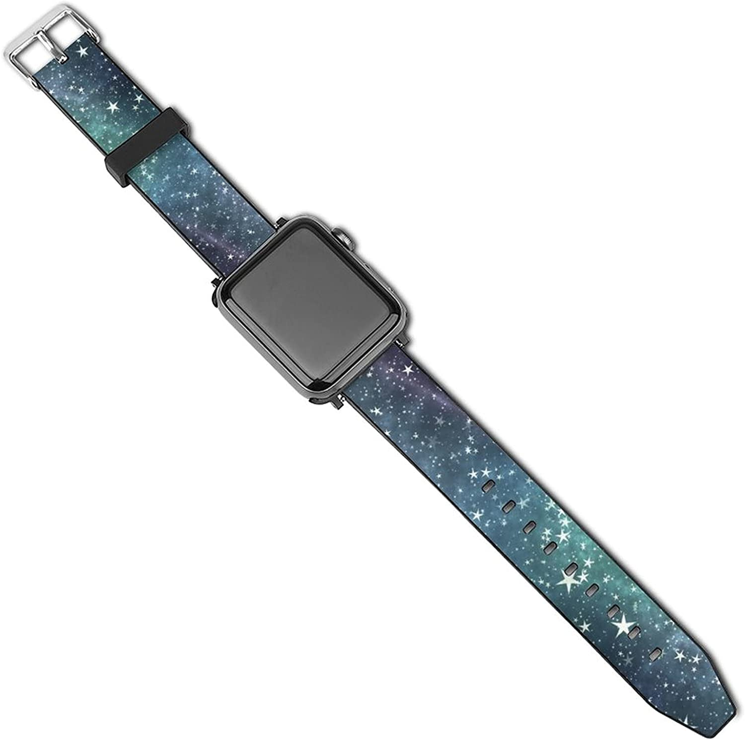 Galaxy Stars Pattern 3D Printed Patterned Leather Wristband Watch Strap For Apple Watch Series
