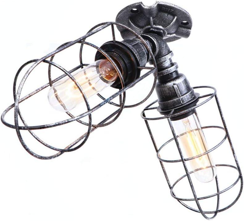 Industrie Wasserrohr Deckenleuchte Vintage Rohr Deckenlampe Metall käfig Schatten Deckenbeleuchtung Loft Steampunk Deckenleuchten 2 Leuchte E27 Decorative 220V-240V für Wohnzimmer Schlafzimmer,B A