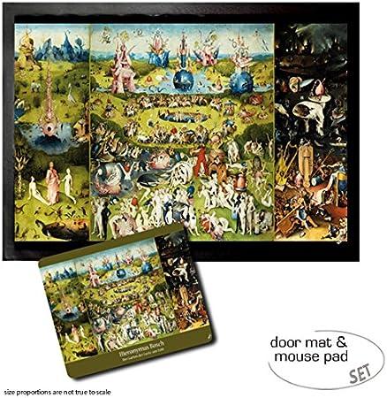 1art1 El Bosco, El Jardín De Las Delicias, 1500 Felpudo Alfombra (70x50 cm) + Alfombrilla para Ratón (23x19 cm) Set Regalo: Amazon.es: Hogar