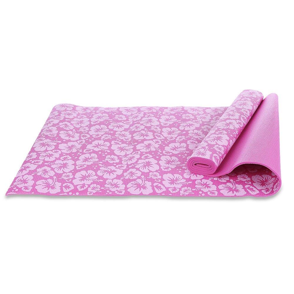 Fjiujin,Útil Multifunción Yoga Estera 0.6CM Impresión de Flores(Color:Rosado)