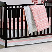 Coral Pink Tribal Print Geometric 3 Piece Crib Bedding Set by The Peanut Shell