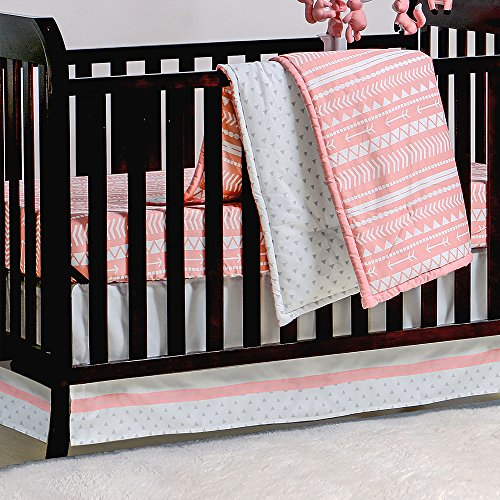 Coral Pink Tribal Print Geometric 3 Piece Crib Bedding Set by The Peanut Shell