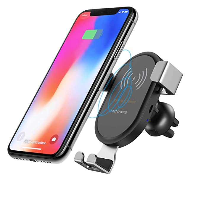 a0fbc5b1837 Showlovein Fast Wireless Car Charger Mount, Adjustable Gravity Air Vent  Phone Holder, 10W Compatible