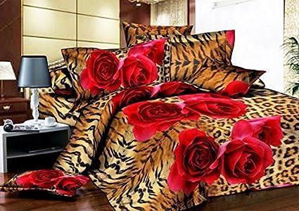 Amazon Com Esydream Home King Size Leopard Print Rose Bedding Sheet