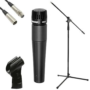 SHURE SM57 Dynamic Microphone, JB's Mic Stand, JB's 6 Metre XLR-XLR Lead,  And Mic Clip Package