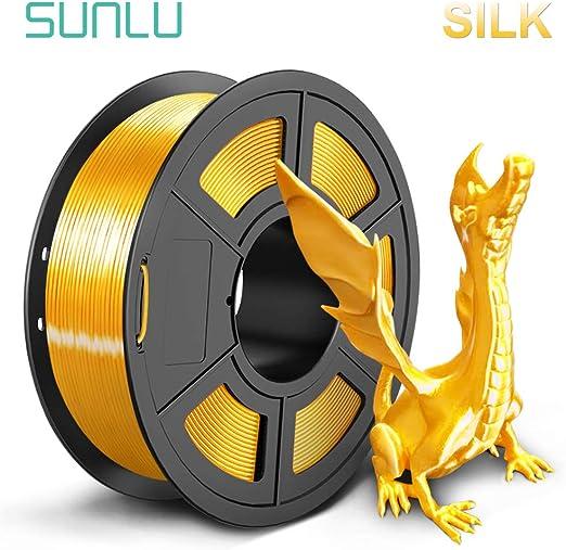 SUNLUシルクPLA3Dプリンタフィラメント1.75mm金属の質感、精度+/-0.02mm、3Dプリンター3Dペン用(1kg明るい金色)