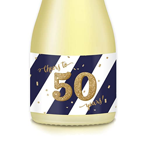 50th BIRTHDAY Surprise Party Ideas Supplies Mini Champagne Wine Bottle Decals FIFTIETH GOLDEN Wedding Anniversary 20 Count Labels Celebrate 50 Years