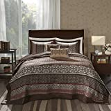 5 Piece 118x120 Jacquard Brown Oversized King Bedspread Set To The Floor Set, Red Ivory Medallion Stripes Bedding Drapes Over Edge Hangs Down Sides Extra Long, Polyester