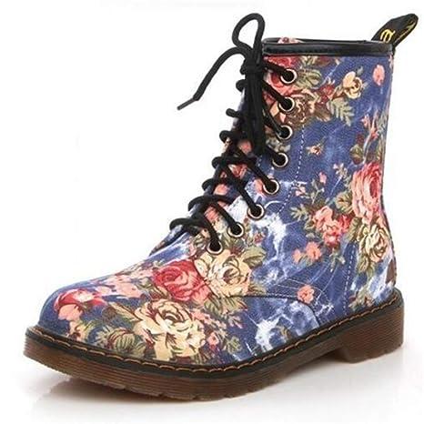ZHRUI Botas de Mujer Botines de Moda Otoño Flor Hermosa Zapatos con Cordones Motocicleta Vaquero Piso