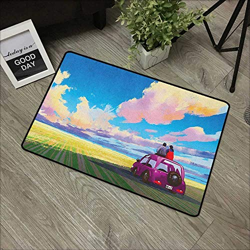 Entry Way Outdoor Door Mat Country,Young Couple Sitting on Car in Front of Dramatic Landscape Farmhouse Soul Mates Print, Multi,with Non Slip Backing,35