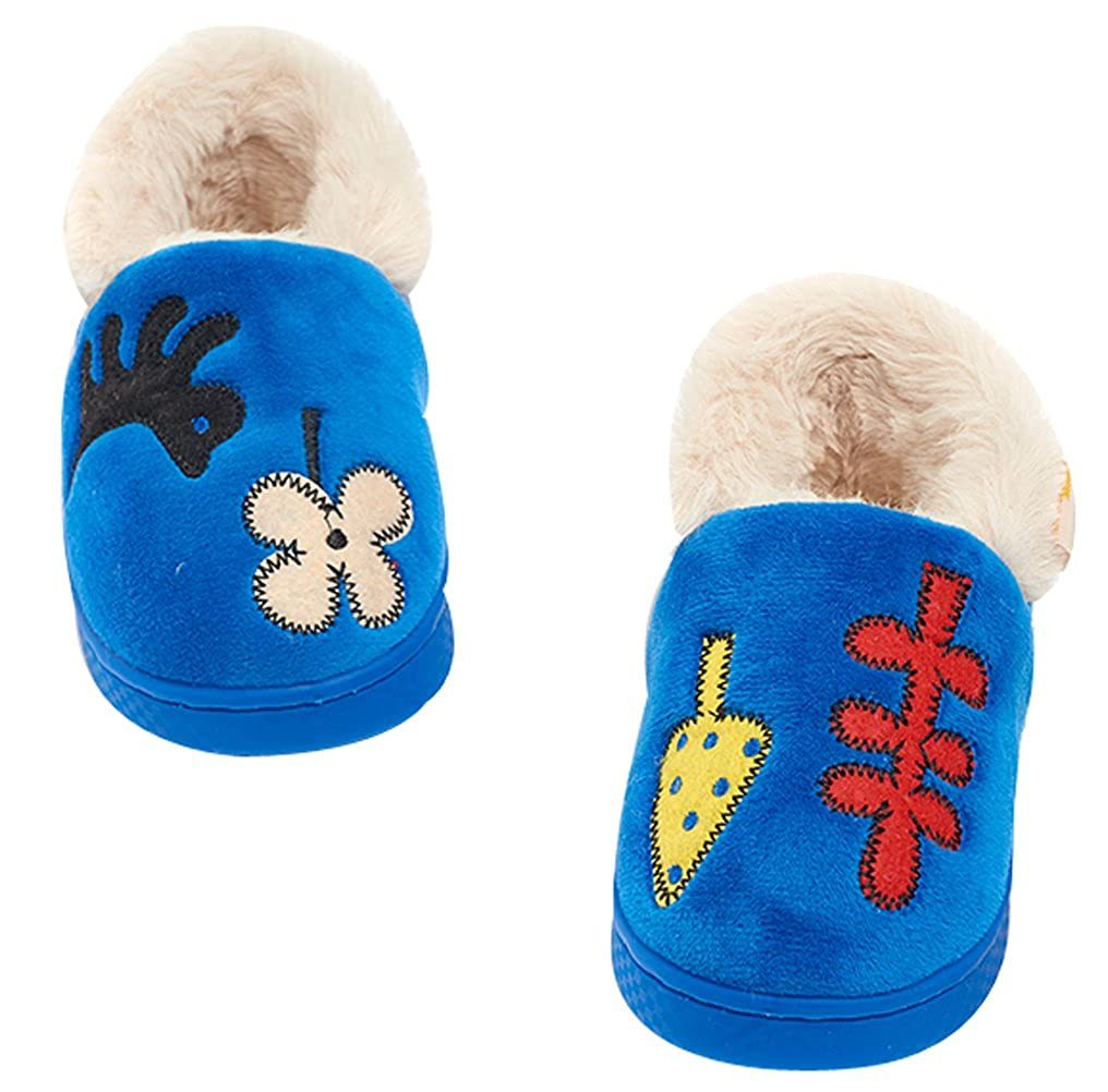 FreLO Kids Blue Embroidery Suede House Slippers Warm House Shoes
