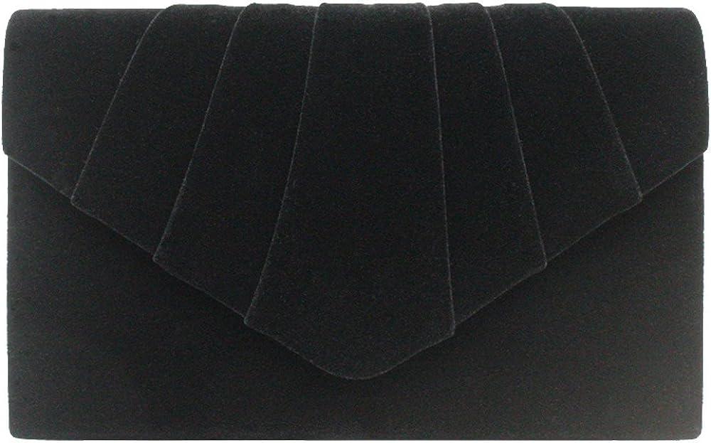 Wocharm Ladies Italian Designer Soft Faux Leather Suede Envelope Clutch Bag Evening Handbag