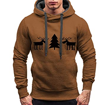 Sudaderas con capucha para hombre, Hombres de Navidad de la nieve Invierno Moda Casual Cálido