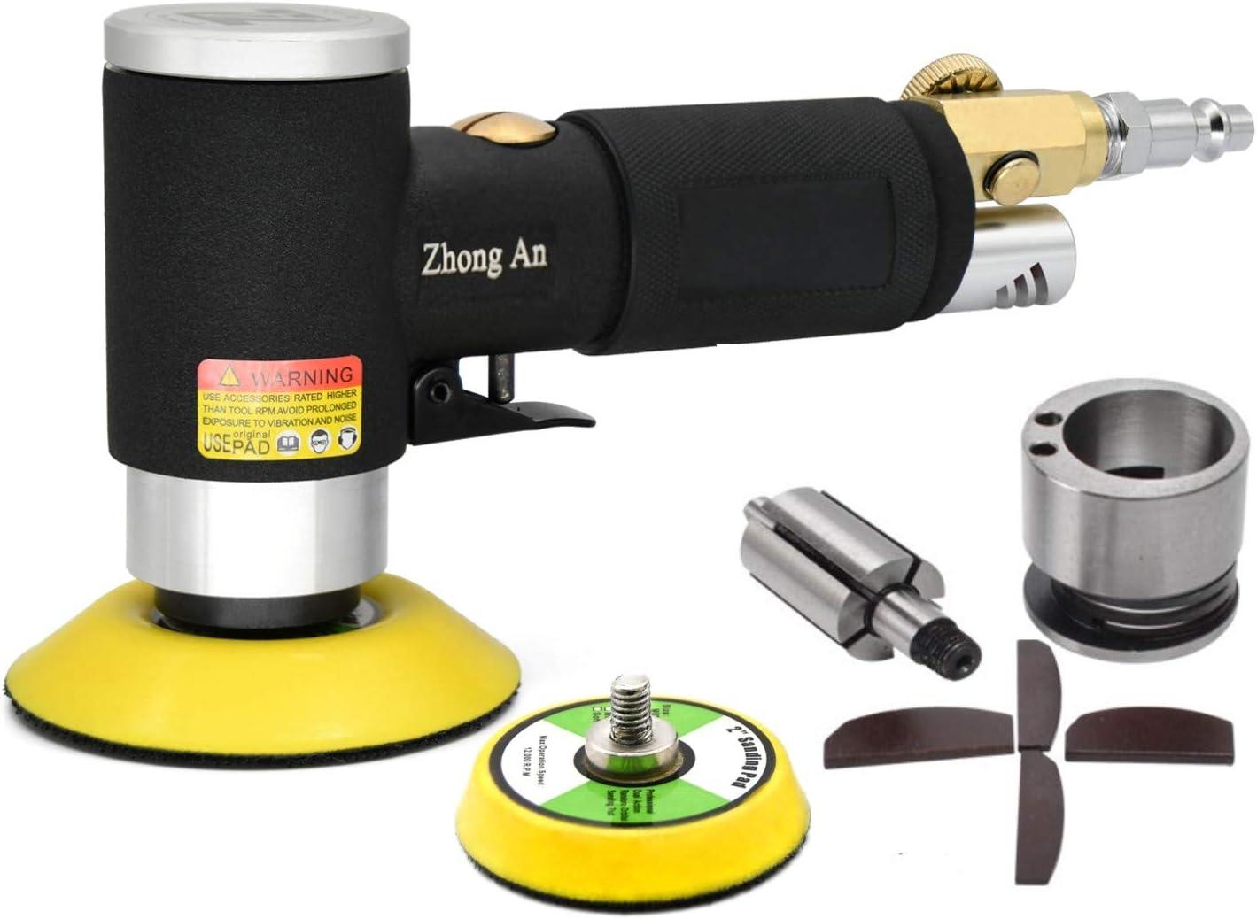 Pulidor neumático de la lijadora mini excéntrica Negro más nuevo, alta velocidad 12,000 RPM, máquina de pulir con almohadillas de lijado de 50 mm y 75 mm