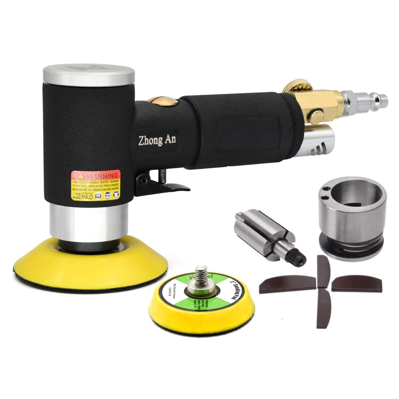 Pulidor neumático de la lijadora mini excéntrica Negro más nuevo, alta velocidad 12,000 RPM, máquina de pulir con almohadillas de lijado de 50 mm y 75 mm: ...