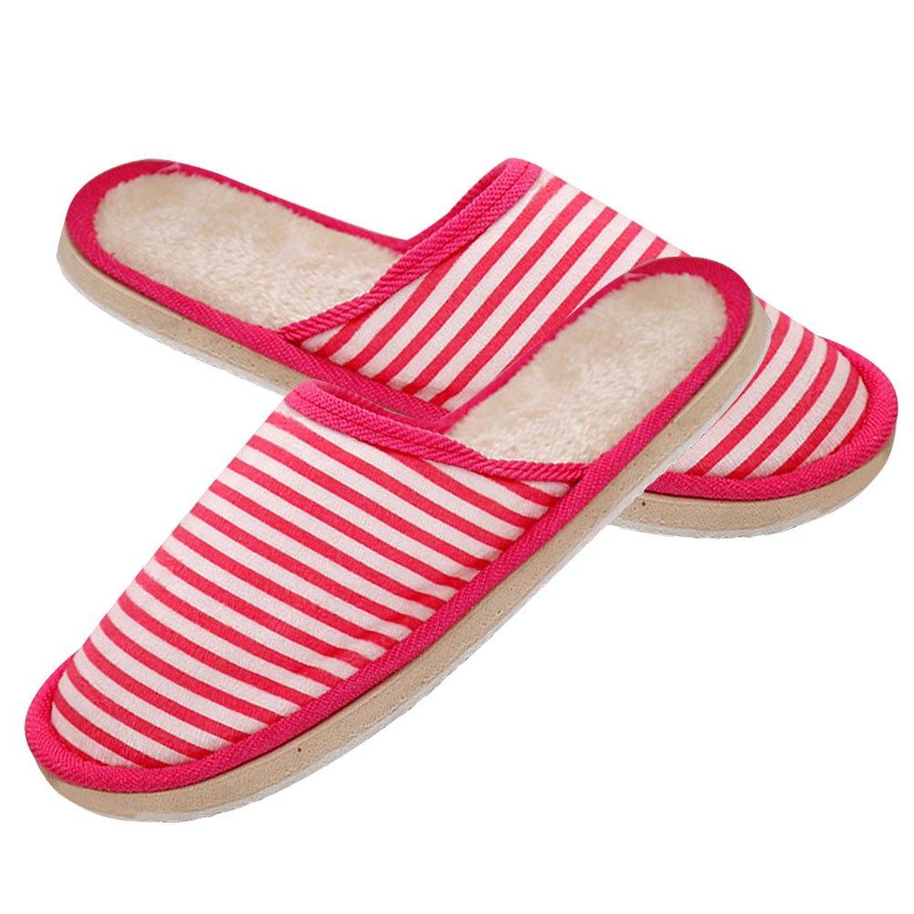 Gracefulvara Men Women Winter Warm Soft Striped Slippers, Indoor Anti-slip Shoes