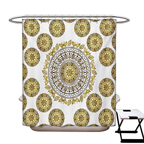 BlountDecor Mandala Shower Curtain Collection by Ancient Circle Mandala Pattern Butterflies with Leaves Natural Composition Patterned Shower Curtain W36 x L72 Yellow Cream Brown