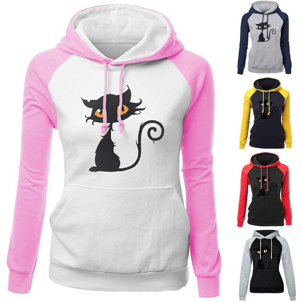 Btruely Mujer Camiseta de Gato Imprimir Blusa Casual de Manga Larga Sudadera sólida Sudadera con Capucha Tops Camisa de Algodón: Amazon.es: Ropa y ...