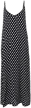 Women Dress Polka Dot Print V Neck Sleeveless Loose Maxi Long Beach Bohemian Vintage One-Piece