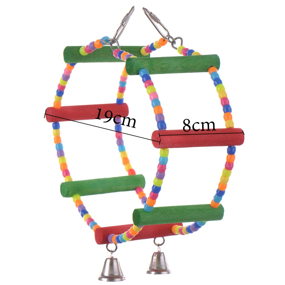 Color Double Ring Stand Pet Bird Parrot Macaw Toys Parrot Bites Toy Macaw African Greys Budgies Funny Toy ZSL