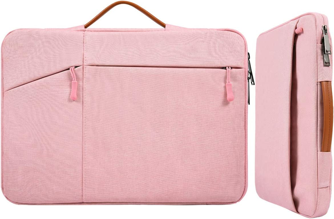 13 Inch Waterproof Laptop Briefcase Women Ladies Carrying Bag with Handle for Surface Book 3/Laptop 3, Acer Aspire R13, Dell Inspiron 13 5000 7000, Lenovo 710S 13.3 Notebook Protive Sleeve Bag, Pink