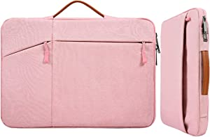 14-15 Inch Waterproof Laptop Sleeve Briefcase Women Ladies Bag with Handle for Dell XPS 15, MacBook Pro 15 A1770 A1990, 2019 HP Chromebook 14, Lenovo Flex 5, ASUS Zenbook Lenovo Chromebook Case, Pink