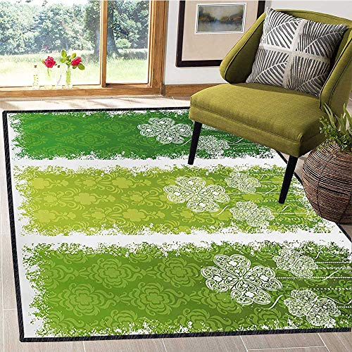 - Irish, Area Rug Underlay, Aged Vintage Antique Figures on Green Toned Color Bands Celtic Historic Lace Image, Door Mat Increase 5x6 Ft Multicolor