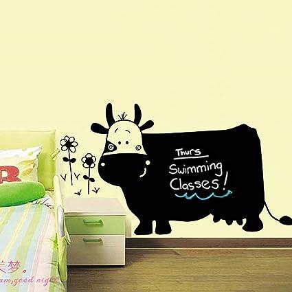 Negro Vaca Flores escritura pizarra adhesivo decorativo para ...