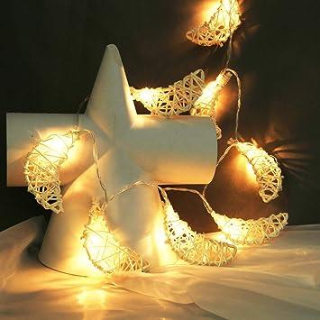 Yuege - Guirnalda de luces de ratán para decoración de Navidad ...