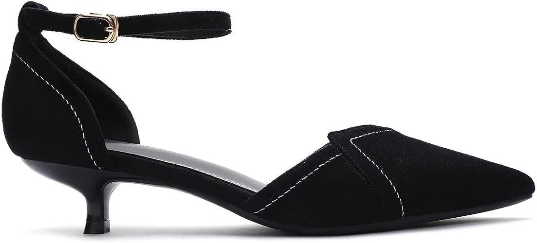 Womens Kitten Heel Ankle Strap Court