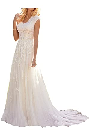 Holygift Women\'s A-Line Lace Wedding Dresses For Bride 2018 Bridal ...
