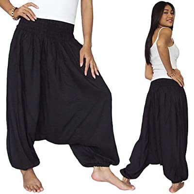 Black-baggy Yoga Hippy Genie Aladdin Harem Jumpsuit Pants Freesize
