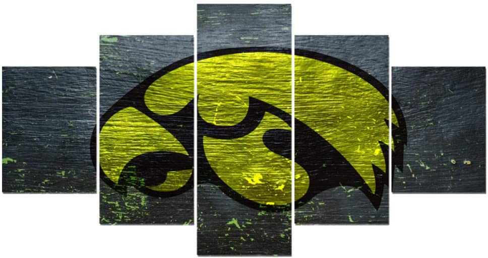 WSJXY 5 Canvas Paintings Framed Animal Iowa Hawkeyes Logo Canvas Painting Calligraphy Hot Sport Ball Team Poster Wall Art Paintings Modern Home Decor Picture