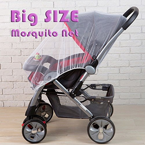 Mosquito Net, Bug Net for Baby Strollers Infant Carriers Car Seats Cradles Cribs,Beds,PacknPlays,Carriers, Car Seats, Baby Fly Screen Protection (White, Large) 35.4