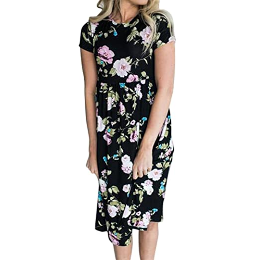 db056d33e5b Elogoog Women s Summer Round Neck Short Sleeve Pleated Casual Floral  Printed Mini Dress (Black