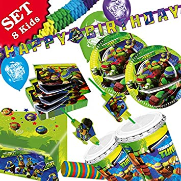 geburtstagsfee Ninja Turtles - Set de decoración para Fiesta de cumpleaños Infantil (63 Piezas)