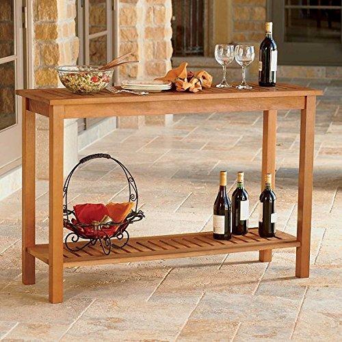 Outdoor Natural Finish Eucalyptus Hard Wood Console Sofa Table Storage Shelf Patio Furniture (Eucalyptus Table Wood)