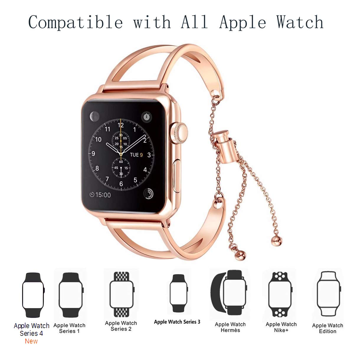 2d82a5ac3f2c1 WONMILLE Bracelet for Apple Watch Band 38mm 42mm, Classy Stainless Steel  Cuff Jewelry iWatch Bands Strap Wristbands Unique Fancy Style for Women  Girls ...