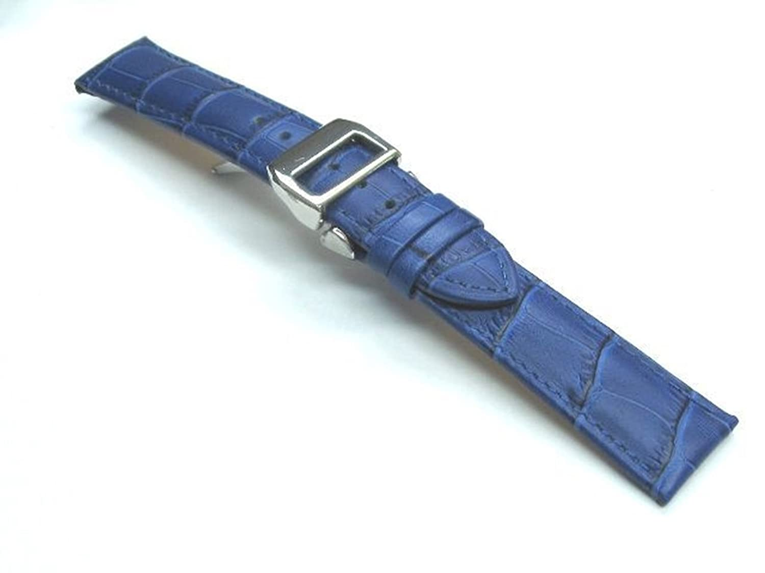 20 mm Italian Leather Watch Band Strap Deployment Clasp for IWC Portugueseブルー7b  B07D6PMPN2