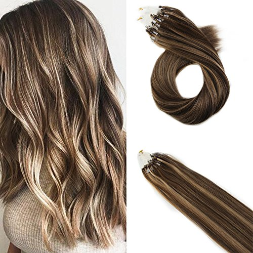 Moresoo Micro Ring Beads Hair Extensions Human Hair 20 Inch Micro Ring Beads Tipped Hair Extensions Easy Brazilian Hair 1g/s 50g #4 Dark Brown Mixed with #27
