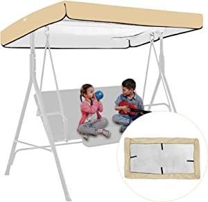 Swing Canopy Replacement, Patio Swing Top Cover Replacement, Waterproof Patio Swing with Canopy Protective Cover Garden Seater Hammock Shading Replacement Cushions