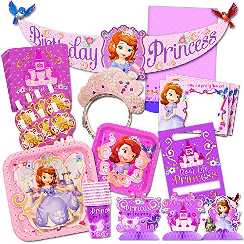Disney Sofia the First Party Supplies Value Set-- Birthday Party Plates, Cups, Napkins and More!]()