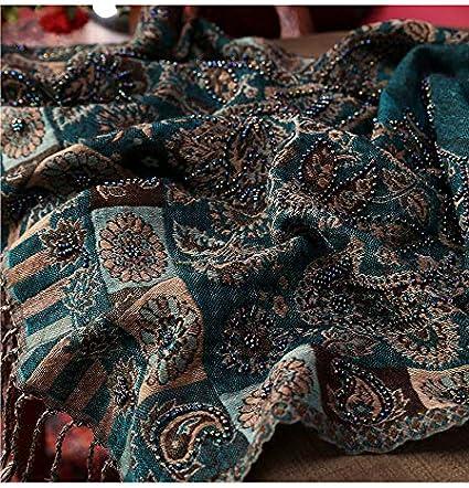 99native Damen Schal Stickerei Pashmina Baumwollschals Blumen Bandana Schals Wrap Schal Stola Pashmina Umschlagt/ücher Abendkleider Hochzeit Party Gatsby Braut Schal Kost/üm Accessoires