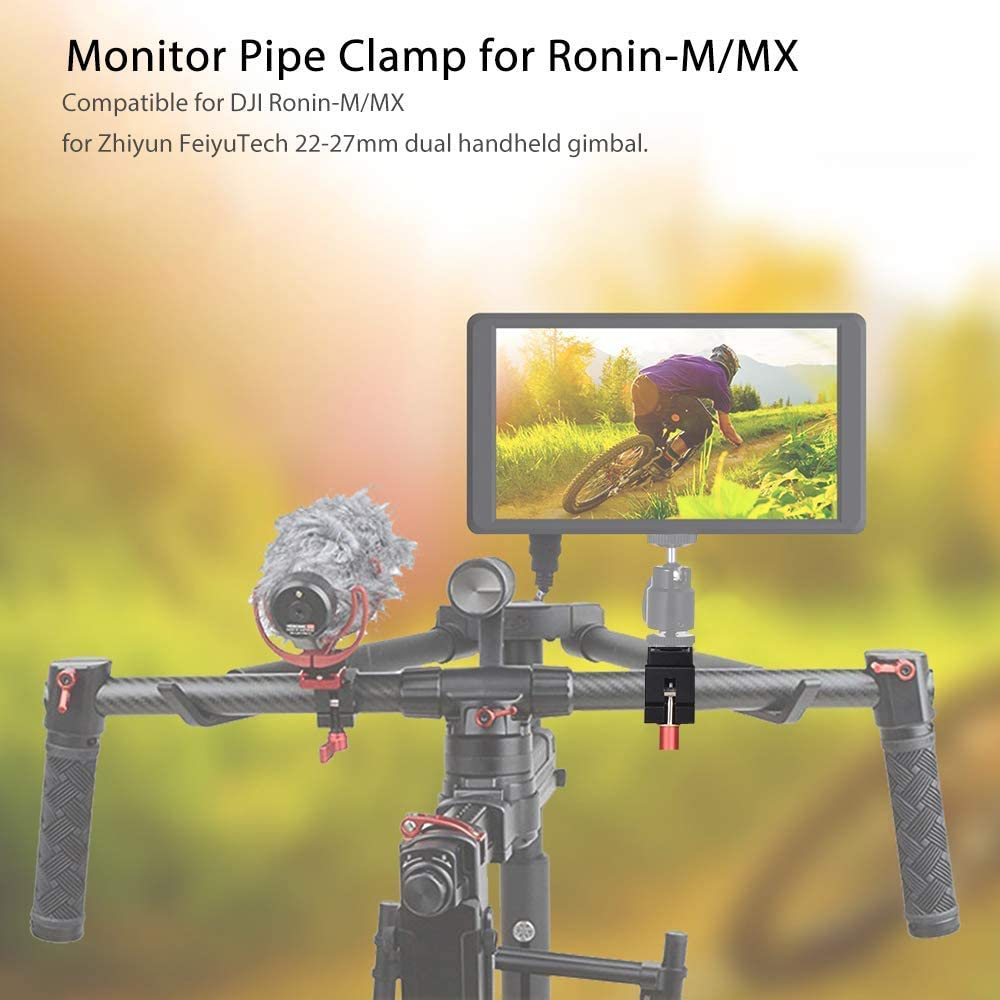 UTEC LIMITED Monitor Rod Clamp Holder Monitor Video Light Mount Stand Bracket with Cold Shoe Slot 1//4 3//8 Inch Screw Mounts for DJI Ronin-M//Ronin-MX for Zhiyun FeiyuTech 22-27mm Dual Handheld Gimbal