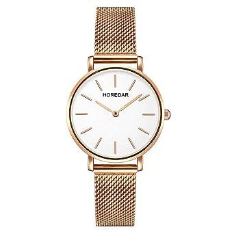 Relojes Mujer con Correa de Malla de Oro Rosa, Escala del Clavo Relojes de Pulsera Elegante clásico, Dial Blanca: Amazon.es: Relojes