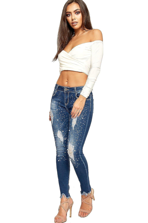 22efc7daf28 WearAll Women's Pearl Embellished Ripped Distressed Pocket Ladies Skinny  Leg Denim Jeans - Blue - 18: Amazon.co.uk: Clothing