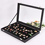 Wuligirl 100 Slot Jewelry Ring Tray Velvet Clear