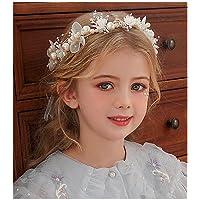 IYOU Boda pieza de pelo Sillver perla diadema nupcial bebé respiración cristal vid para princesa flor niñas y dama de…
